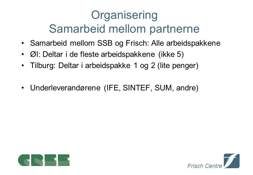 Frisch Centre Organisering Samarbeid mellom partnerne Samarbeid mellom SSB og Frisch: Alle arbeidspakkene ØI: Deltar i de fleste arbeidspakkene (ikke 5) Tilburg: Deltar i arbeidspakke 1 og 2 (lite penger) Underleverandørene (IFE, SINTEF, SUM, andre)