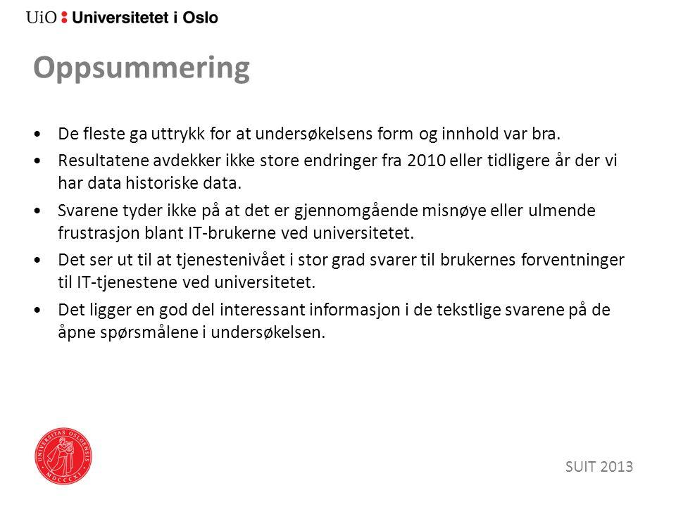 Lokal IT & Brukerstøtte SUIT 2013 Y-aksen er % fornøyd.