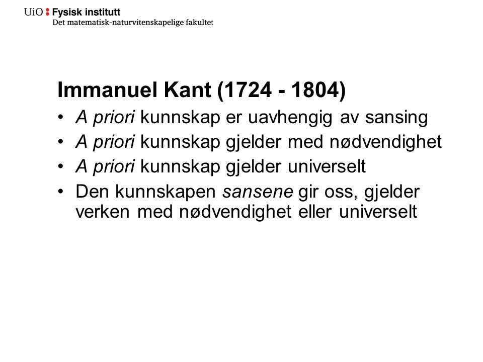 Immanuel Kant (1724 - 1804) A priori kunnskap er uavhengig av sansing A priori kunnskap gjelder med nødvendighet A priori kunnskap gjelder universelt