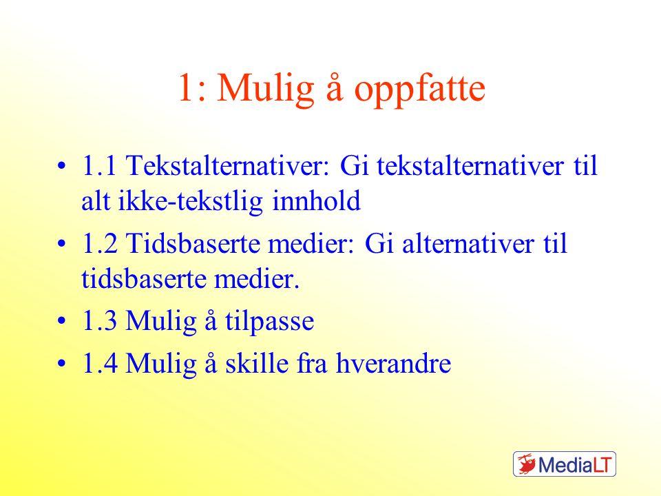 1: Mulig å oppfatte 1.1 Tekstalternativer: Gi tekstalternativer til alt ikke-tekstlig innhold 1.2 Tidsbaserte medier: Gi alternativer til tidsbaserte medier.