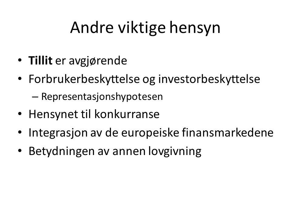 Andre viktige hensyn Tillit er avgjørende Forbrukerbeskyttelse og investorbeskyttelse – Representasjonshypotesen Hensynet til konkurranse Integrasjon av de europeiske finansmarkedene Betydningen av annen lovgivning