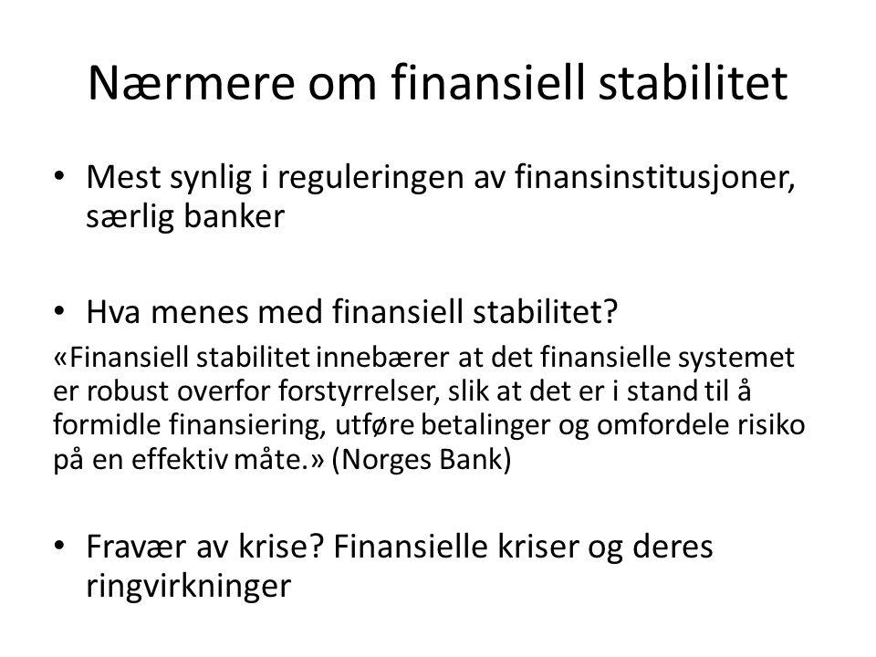Nærmere om finansiell stabilitet Mest synlig i reguleringen av finansinstitusjoner, særlig banker Hva menes med finansiell stabilitet.