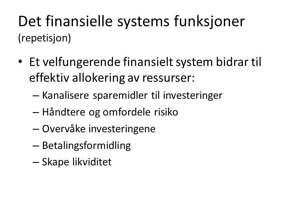 Det finansielle systems funksjoner (repetisjon) Et velfungerende finansielt system bidrar til effektiv allokering av ressurser: – Kanalisere sparemidler til investeringer – Håndtere og omfordele risiko – Overvåke investeringene – Betalingsformidling – Skape likviditet
