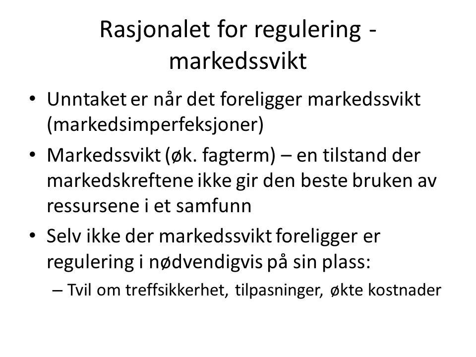 Rasjonalet for regulering - markedssvikt Unntaket er når det foreligger markedssvikt (markedsimperfeksjoner) Markedssvikt (øk.