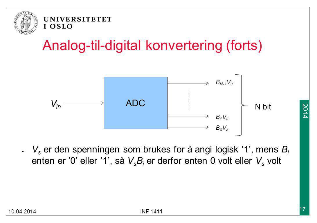 2009 2014 Analog-til-digital konvertering (forts) V s er den spenningen som brukes for å angi logisk '1', mens B i enten er '0' eller '1', så V s B i er derfor enten 0 volt eller V s volt 10.04.2014INF 1411 17 ADC V in B0VsB0Vs B1VsB1Vs B N-1 V s N bit