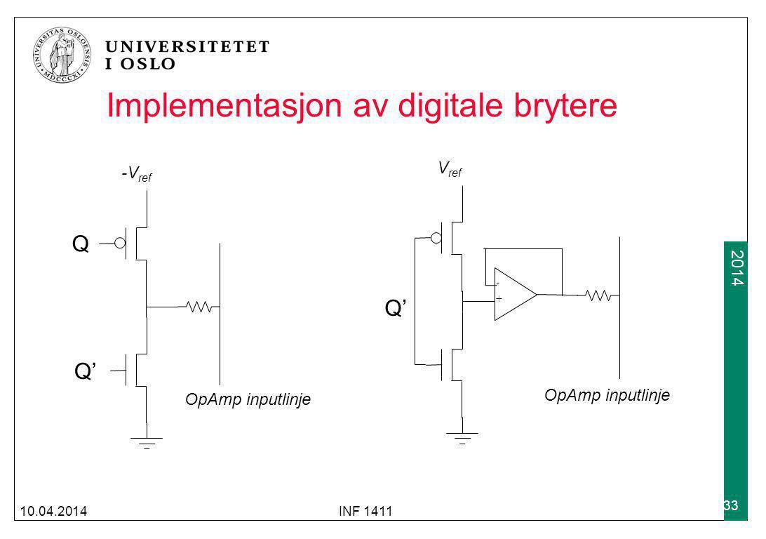 2009 2014 Implementasjon av digitale brytere 10.04.2014INF 1411 33 Q Q' OpAmp inputlinje -V ref Q' OpAmp inputlinje V ref - +