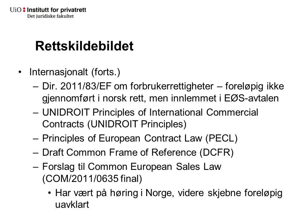 Rettskildebildet Internasjonalt (forts.) –Dir. 2011/83/EF om forbrukerrettigheter – foreløpig ikke gjennomført i norsk rett, men innlemmet i EØS-avtal