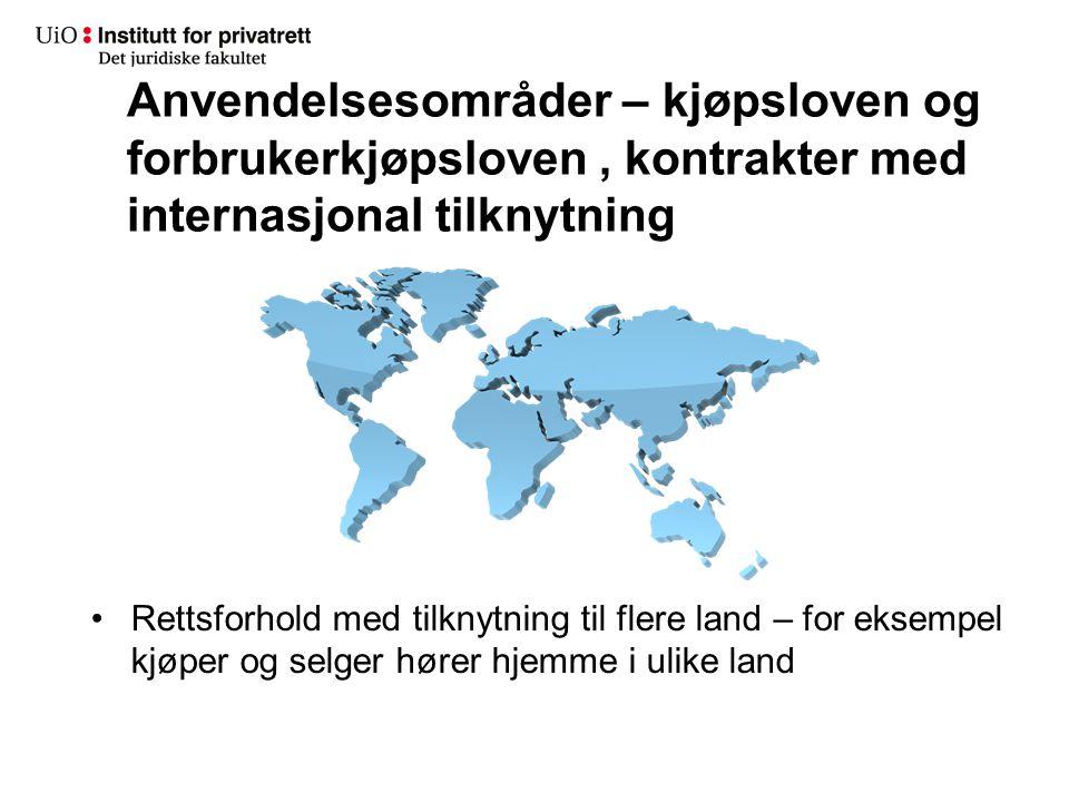 Anvendelsesområder – kjøpsloven og forbrukerkjøpsloven, kontrakter med internasjonal tilknytning Rettsforhold med tilknytning til flere land – for eks