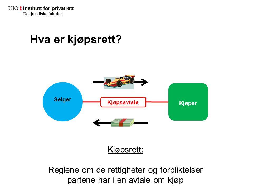 Hva er kjøpsrett? Selger Kjøper Kjøpsrett: Reglene om de rettigheter og forpliktelser partene har i en avtale om kjøp Kjøpsavtale