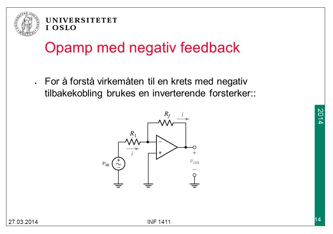 2009 2014 27.03.2014INF 1411 14 Opamp med negativ feedback For å forstå virkemåten til en krets med negativ tilbakekobling brukes en inverterende fors