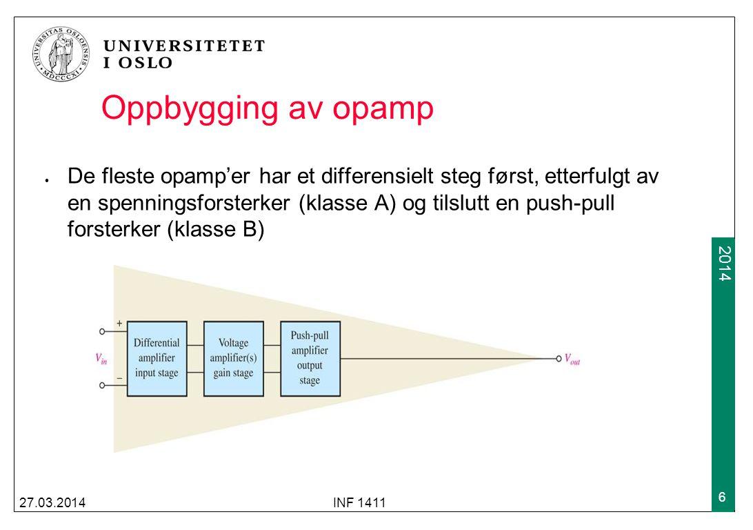 2009 2014 27.03.2014INF 1411 6 Oppbygging av opamp De fleste opamp'er har et differensielt steg først, etterfulgt av en spenningsforsterker (klasse A)
