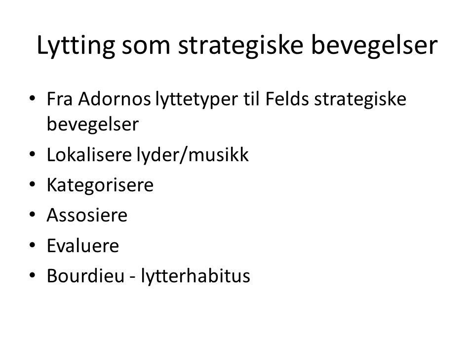 Lytting som strategiske bevegelser Fra Adornos lyttetyper til Felds strategiske bevegelser Lokalisere lyder/musikk Kategorisere Assosiere Evaluere Bou