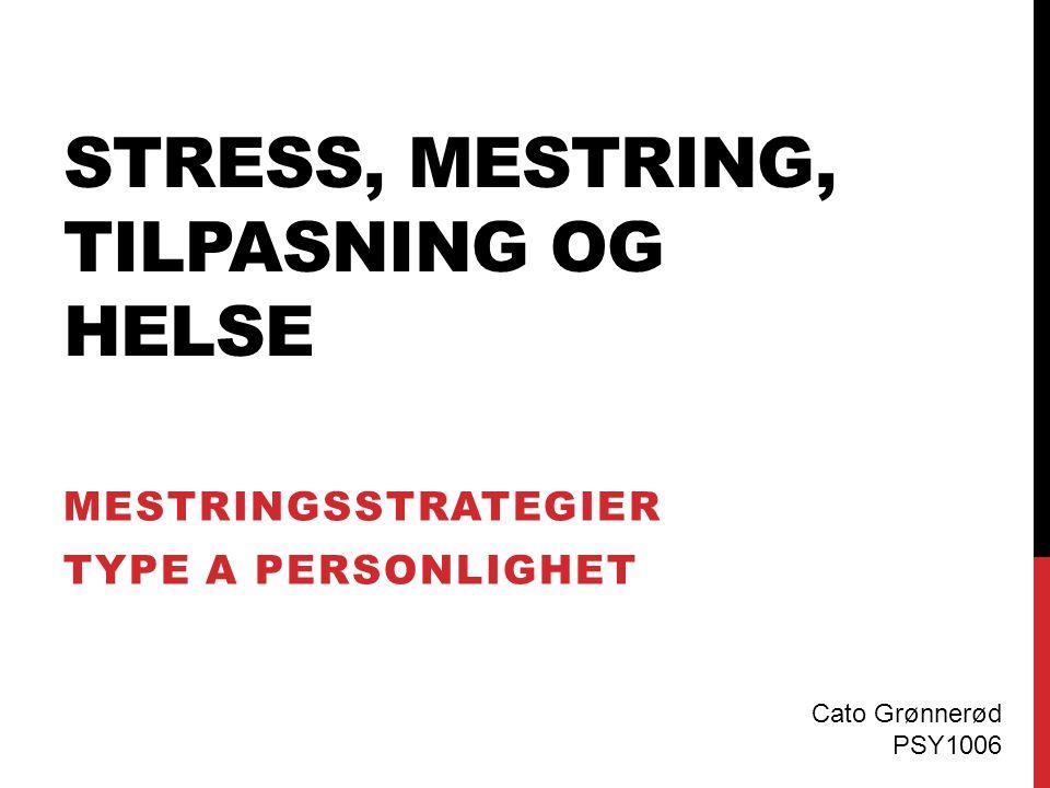 STRESS, MESTRING, TILPASNING OG HELSE MESTRINGSSTRATEGIER TYPE A PERSONLIGHET Cato Grønnerød PSY1006