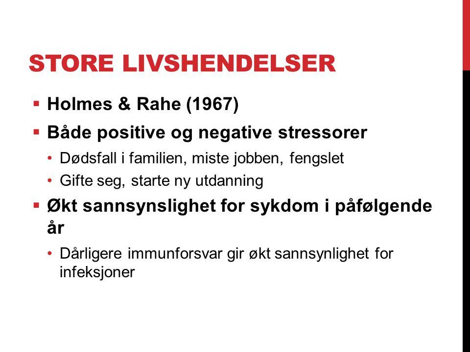 STORE LIVSHENDELSER  Holmes & Rahe (1967)  Både positive og negative stressorer Dødsfall i familien, miste jobben, fengslet Gifte seg, starte ny utd
