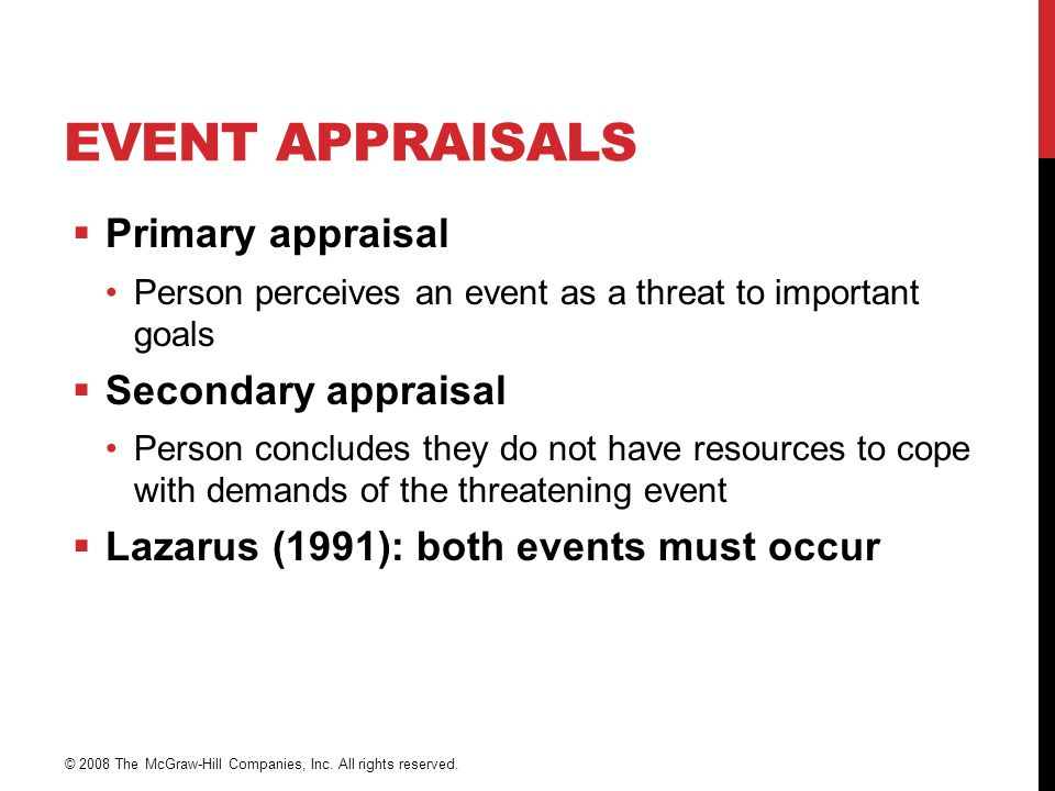 EVENT APPRAISALS  Primary appraisal Person perceives an event as a threat to important goals  Secondary appraisal Person concludes they do not have resources to cope with demands of the threatening event  Lazarus (1991): both events must occur © 2008 The McGraw-Hill Companies, Inc.