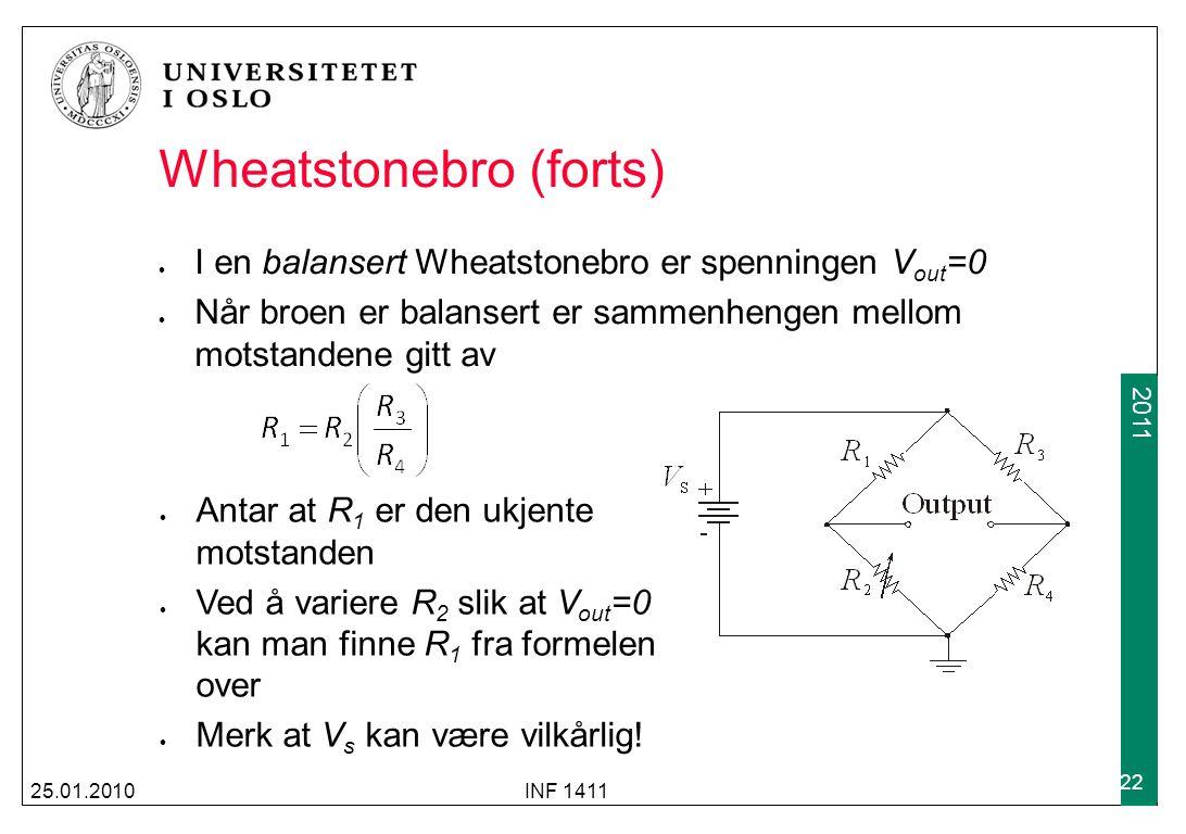 2009 2011 Wheatstonebro (forts) I en balansert Wheatstonebro er spenningen V out =0 Når broen er balansert er sammenhengen mellom motstandene gitt av