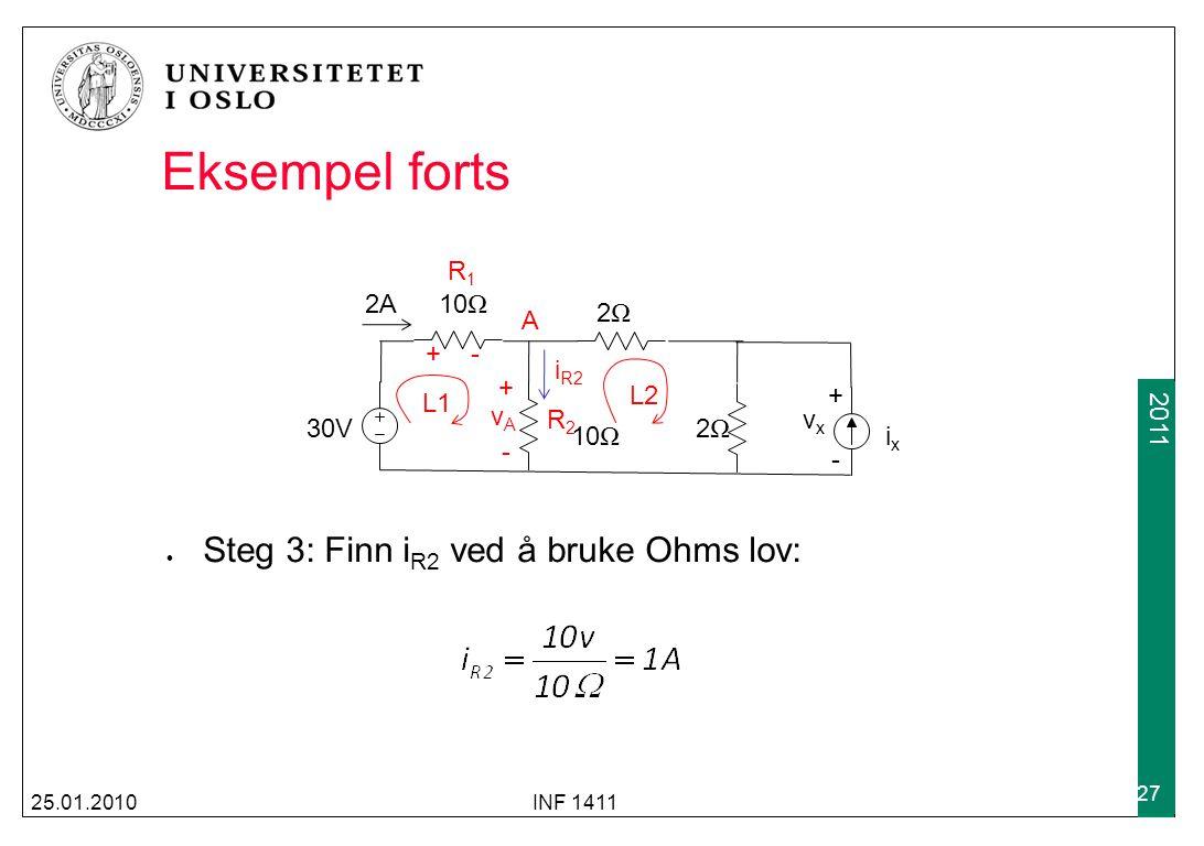 2009 2011 Eksempel forts 25.01.2010INF 1411 27 30V 2A10 Ω 2Ω2Ω 2Ω2Ω ixix vxvx +-+- Steg 3: Finn i R2 ved å bruke Ohms lov: L1 L2 A vAvA +-+- + - R1R1