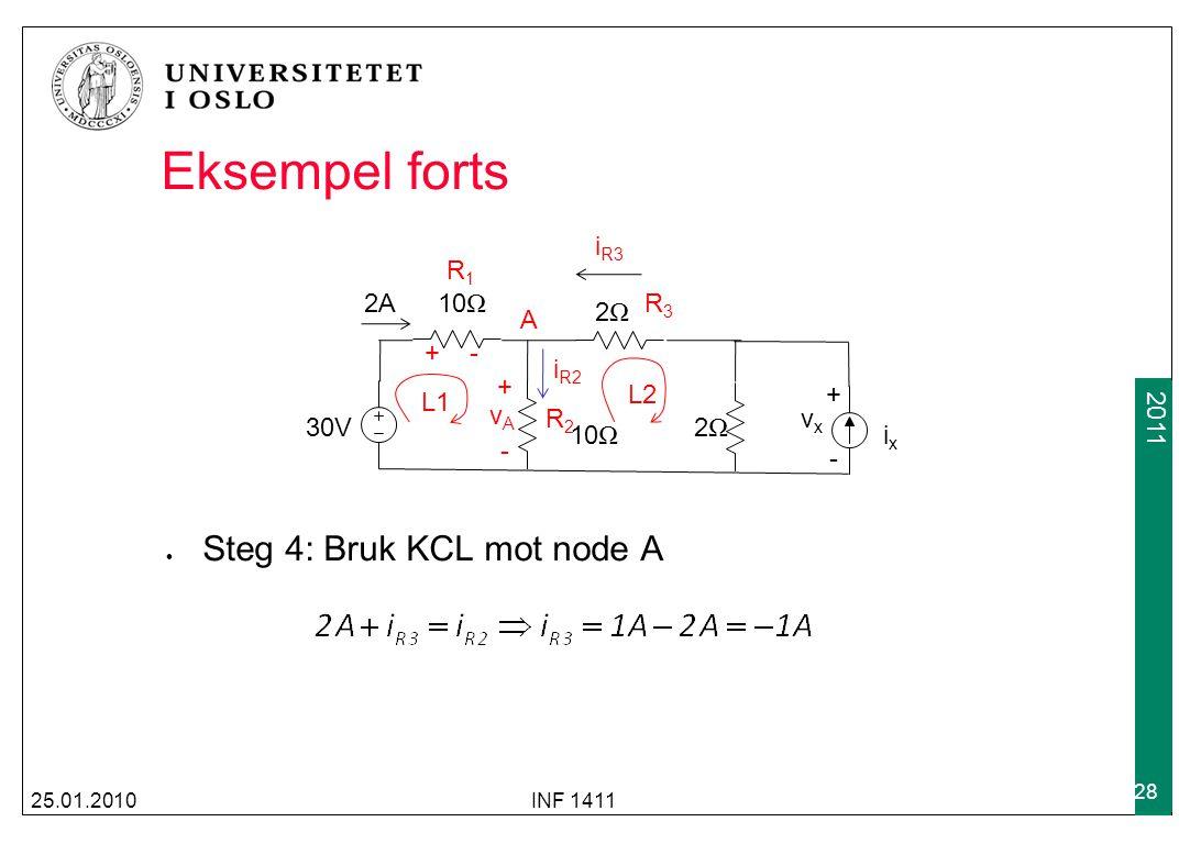 2009 2011 Eksempel forts 25.01.2010INF 1411 28 30V 2A10 Ω 2Ω2Ω 2Ω2Ω ixix vxvx +-+- Steg 4: Bruk KCL mot node A L1 L2 A vAvA +-+- + - R1R1 i R2 R2R2 i