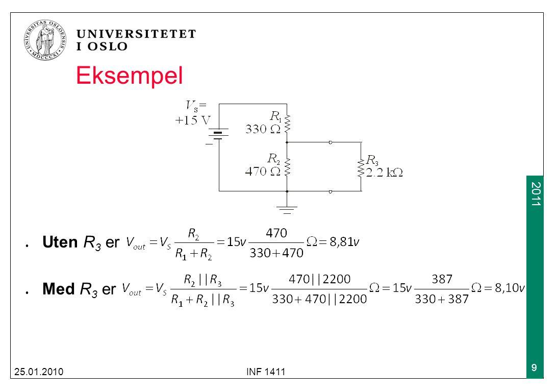 2009 2011 Eksempel forts 25.01.2010INF 1411 30 Måten vi fant den ukjente spenningen var ved gjentatt (til dels usystematisk) bruk av KVL/KCL og Ohms lov Det finnes mer systematiske metoder (node og mesh- analyse, superposisjon) I praksis vil man bruke simuleringsverktøy, f.eks LtSPICE 30V 2A10 Ω 2Ω2Ω 2Ω2Ω ixix vxvx +-+- L1 L2 A vAvA +-+- + - R1R1 i R2 R2R2 i R3 R3R3 + -