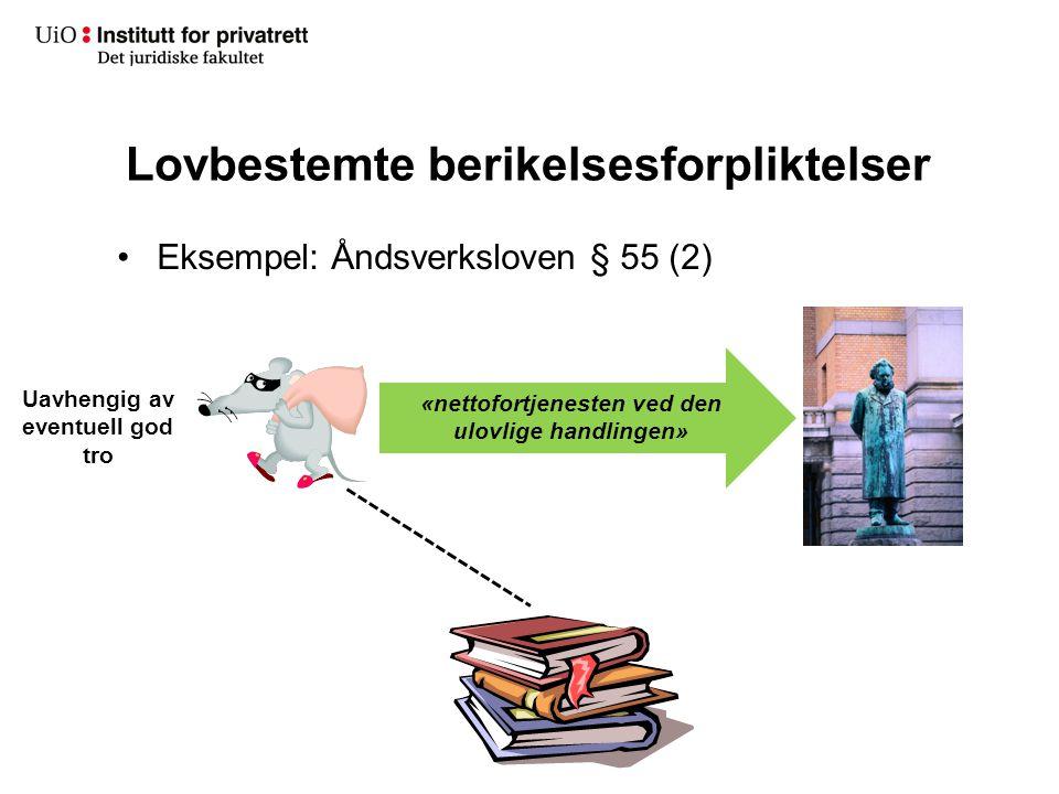 Lovbestemte berikelsesforpliktelser Eksempel: Åndsverksloven § 55 (2) «nettofortjenesten ved den ulovlige handlingen» Uavhengig av eventuell god tro