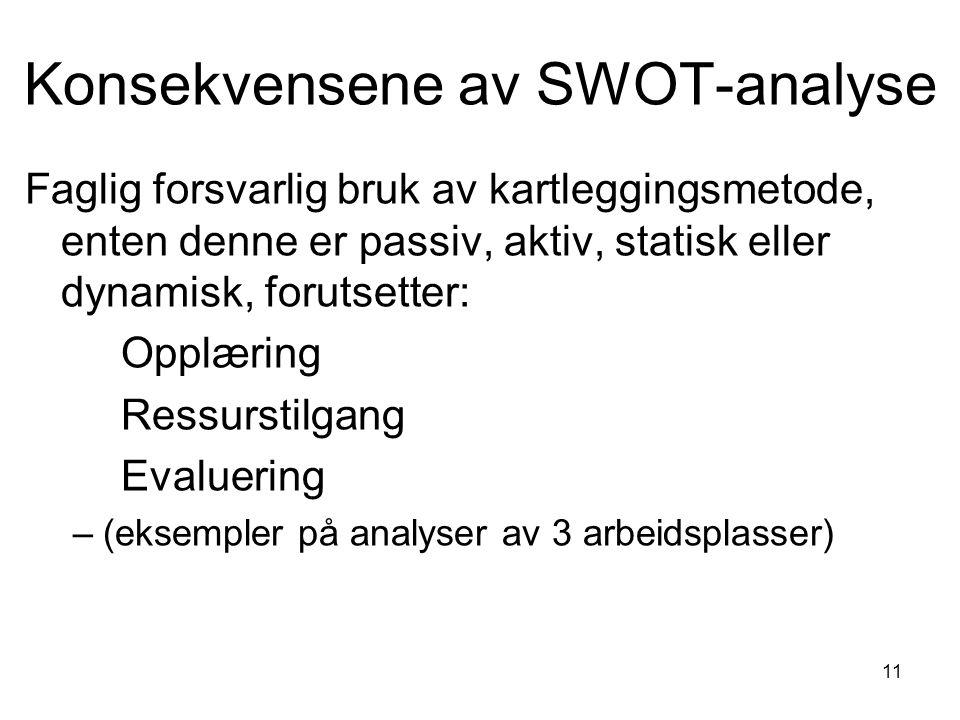 11 Konsekvensene av SWOT-analyse Faglig forsvarlig bruk av kartleggingsmetode, enten denne er passiv, aktiv, statisk eller dynamisk, forutsetter: Opplæring Ressurstilgang Evaluering –(eksempler på analyser av 3 arbeidsplasser)