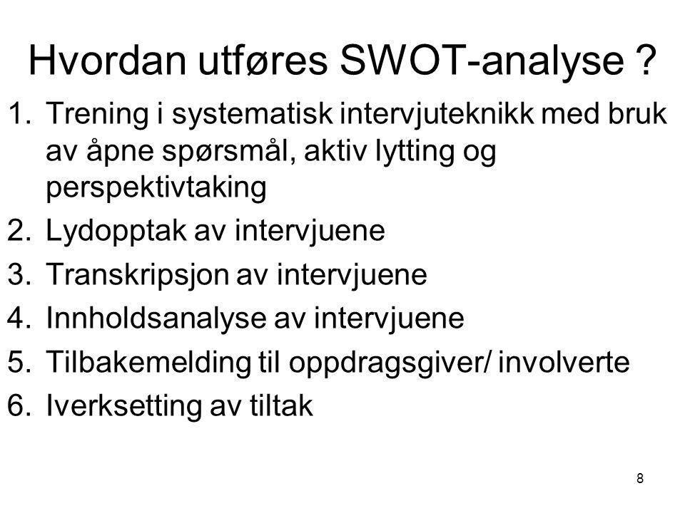 8 Hvordan utføres SWOT-analyse .