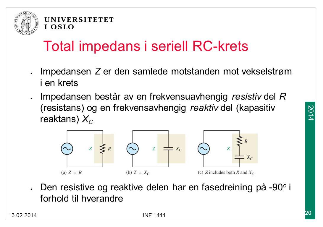 2012 2014 Total impedans i seriell RC-krets Impedansen Z er den samlede motstanden mot vekselstrøm i en krets Impedansen består av en frekvensuavhengig resistiv del R (resistans) og en frekvensavhengig reaktiv del (kapasitiv reaktans) X C Den resistive og reaktive delen har en fasedreining på -90 o i forhold til hverandre 13.02.2014INF 1411 20