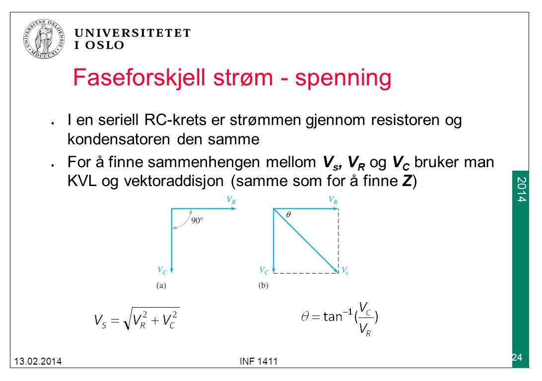2012 2014 Faseforskjell strøm - spenning I en seriell RC-krets er strømmen gjennom resistoren og kondensatoren den samme For å finne sammenhengen mellom V s, V R og V C bruker man KVL og vektoraddisjon (samme som for å finne Z) 13.02.2014INF 1411 24