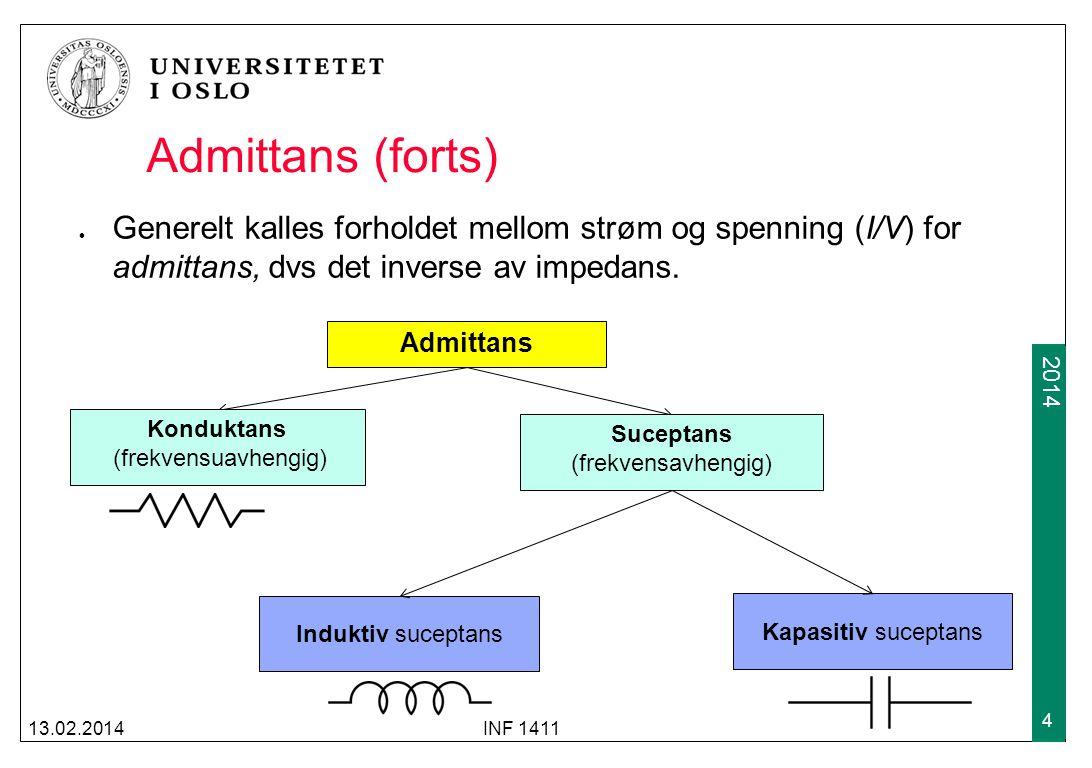 2012 2014 Admittans (forts) Generelt kalles forholdet mellom strøm og spenning (I/V) for admittans, dvs det inverse av impedans.