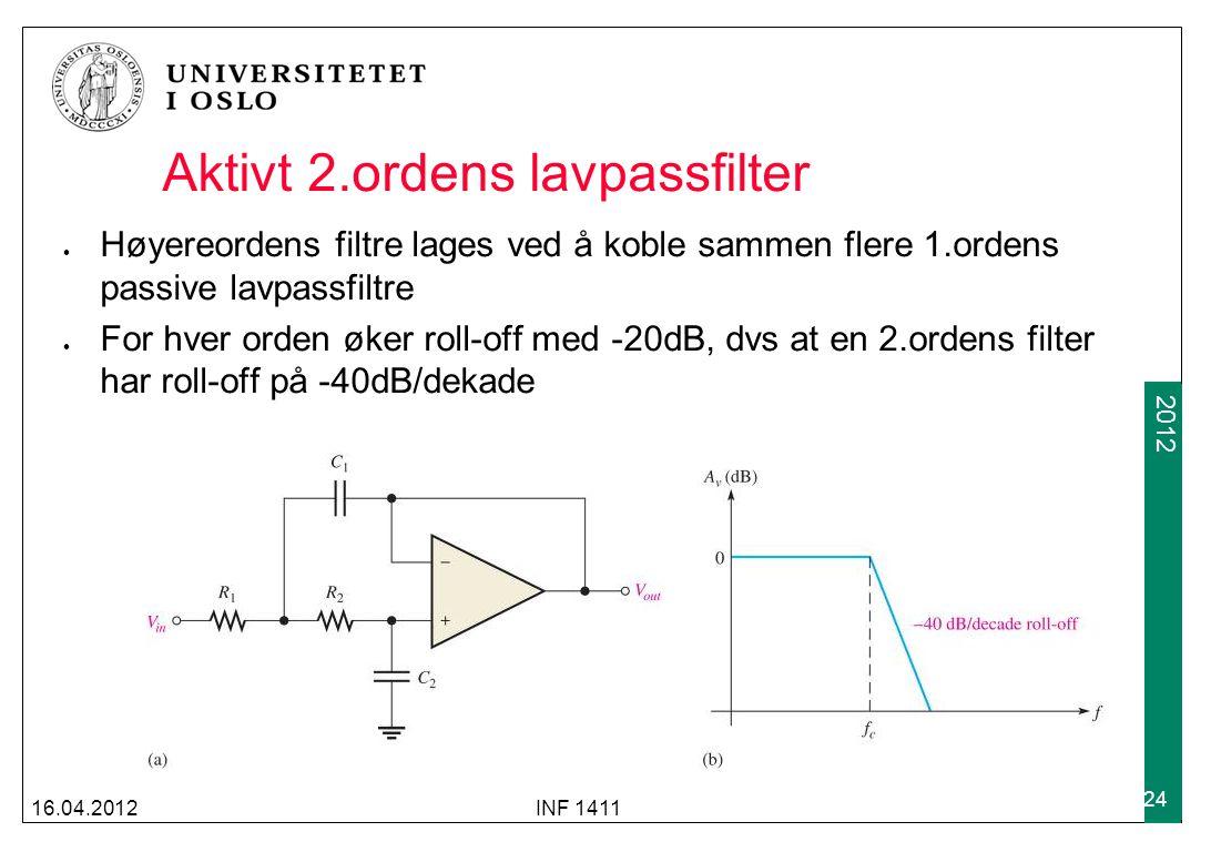 2009 2012 Aktivt 2.ordens lavpassfilter Høyereordens filtre lages ved å koble sammen flere 1.ordens passive lavpassfiltre For hver orden øker roll-off med -20dB, dvs at en 2.ordens filter har roll-off på -40dB/dekade 16.04.2012INF 1411 24