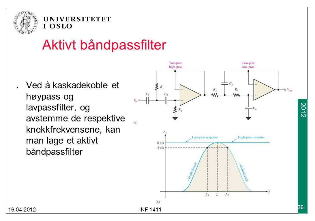 2009 2012 Aktivt båndpassfilter Ved å kaskadekoble et høypass og lavpassfilter, og avstemme de respektive knekkfrekvensene, kan man lage et aktivt båndpassfilter 16.04.2012INF 1411 26