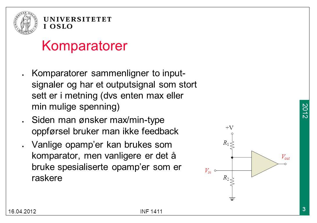 2009 2012 Komparatorer Komparatorer sammenligner to input- signaler og har et outputsignal som stort sett er i metning (dvs enten max eller min mulige spenning) Siden man ønsker max/min-type oppførsel bruker man ikke feedback Vanlige opamp'er kan brukes som komparator, men vanligere er det å bruke spesialiserte opamp'er som er raskere 16.04.2012INF 1411 3 V in R1R1 V out R2R2 +V