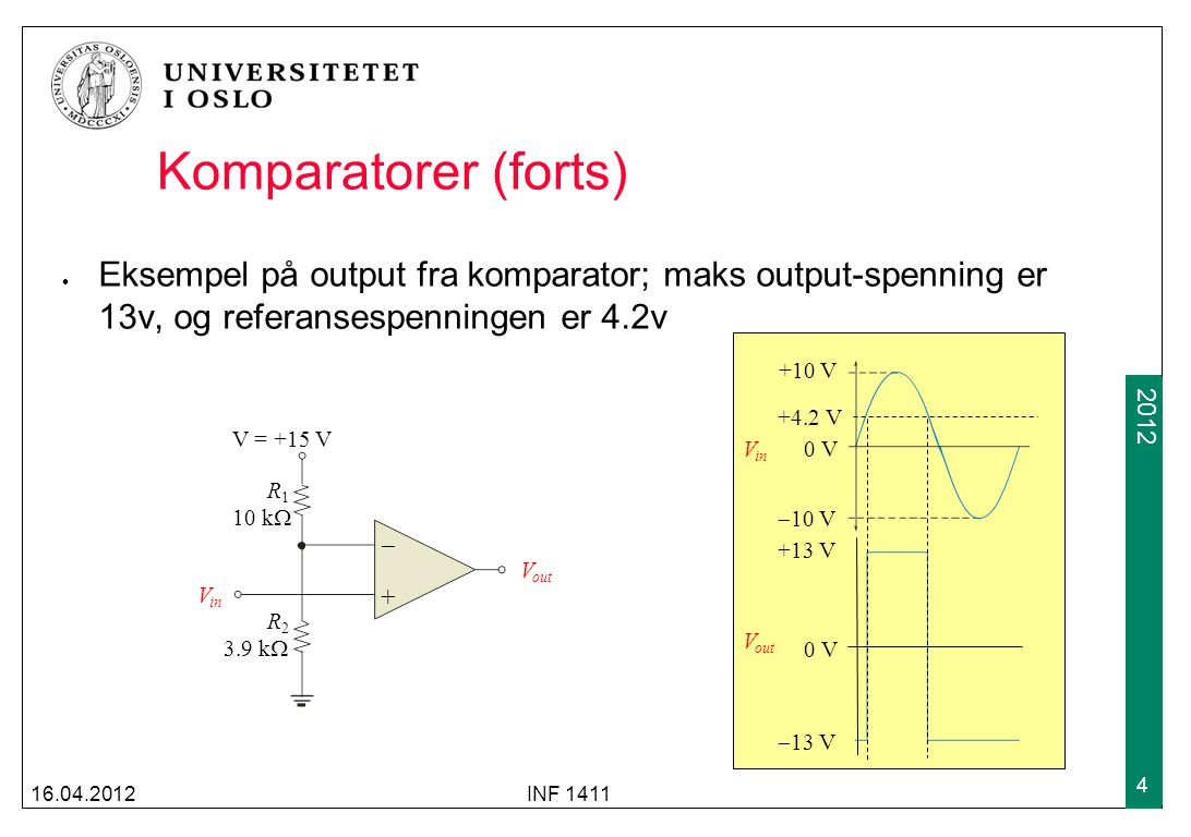 2009 2012 Komparatorer (forts) Eksempel på output fra komparator; maks output-spenning er 13v, og referansespenningen er 4.2v 16.04.2012INF 1411 4 V o