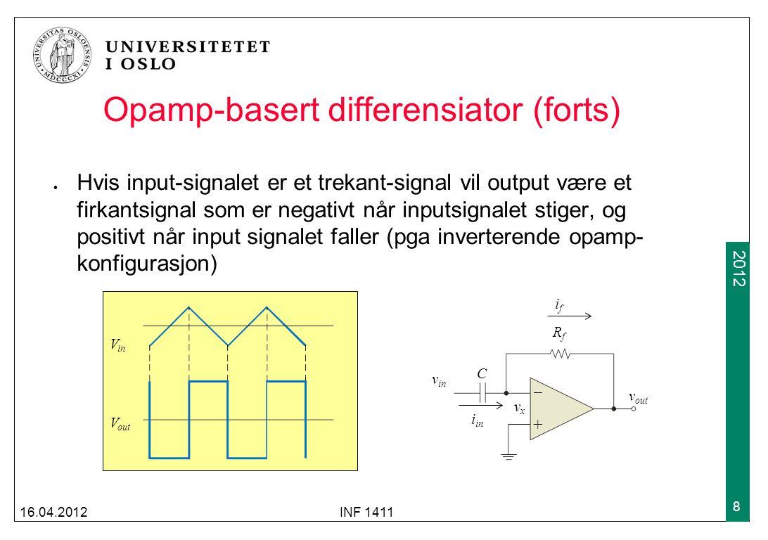 2009 2012 Opamp-basert differensiator (forts) Hvis input-signalet er et trekant-signal vil output være et firkantsignal som er negativt når inputsignalet stiger, og positivt når input signalet faller (pga inverterende opamp- konfigurasjon) 16.04.2012INF 1411 8 +  RfRf C v in v out vxvx i in ifif V in V out