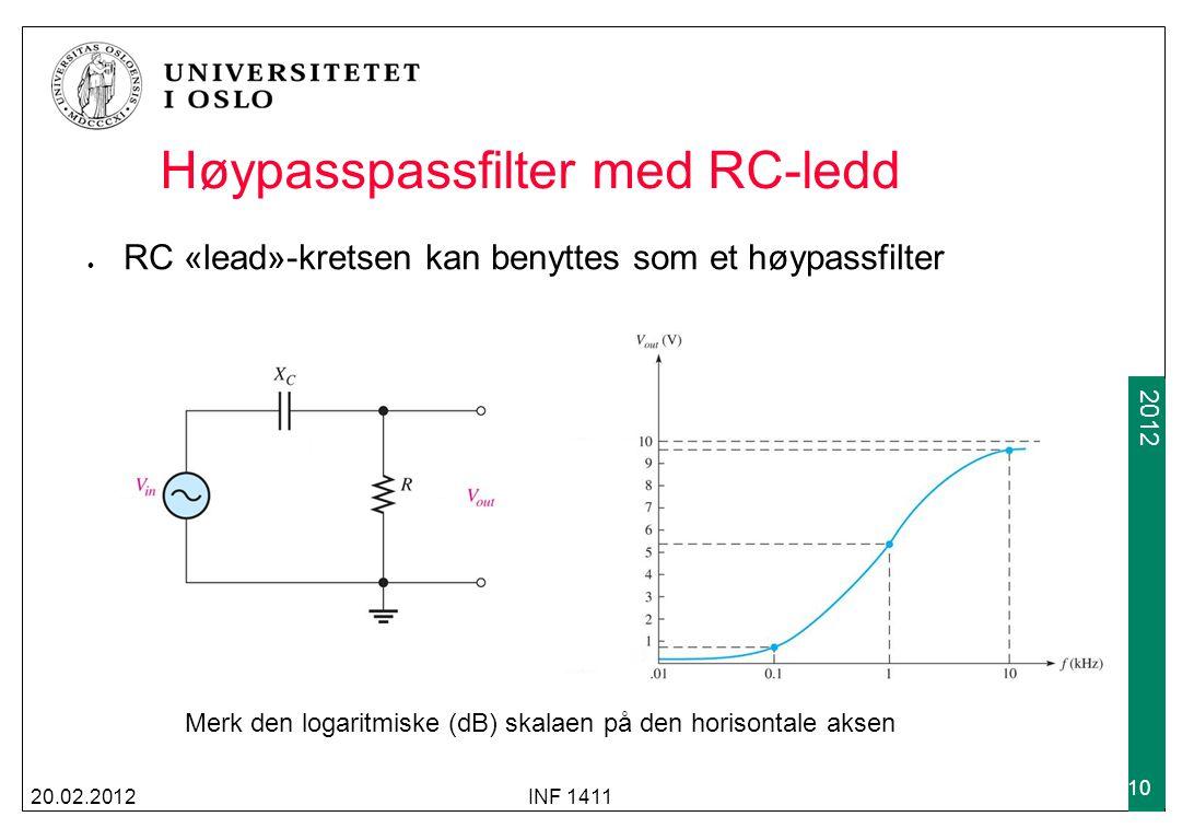 2009 2012 Høypasspassfilter med RC-ledd RC «lead»-kretsen kan benyttes som et høypassfilter 20.02.2012INF 1411 10 Merk den logaritmiske (dB) skalaen p
