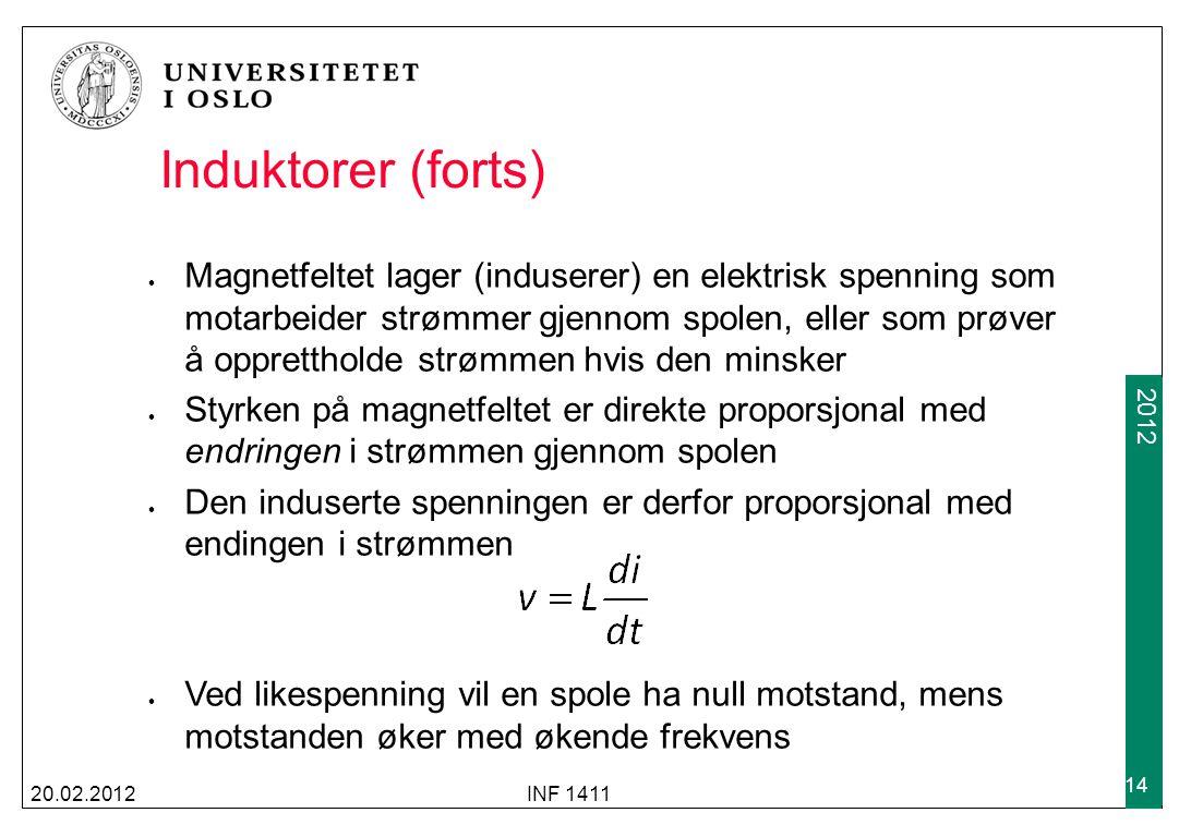 2009 2012 Induktorer (forts) 20.02.2012INF 1411 14 Magnetfeltet lager (induserer) en elektrisk spenning som motarbeider strømmer gjennom spolen, eller