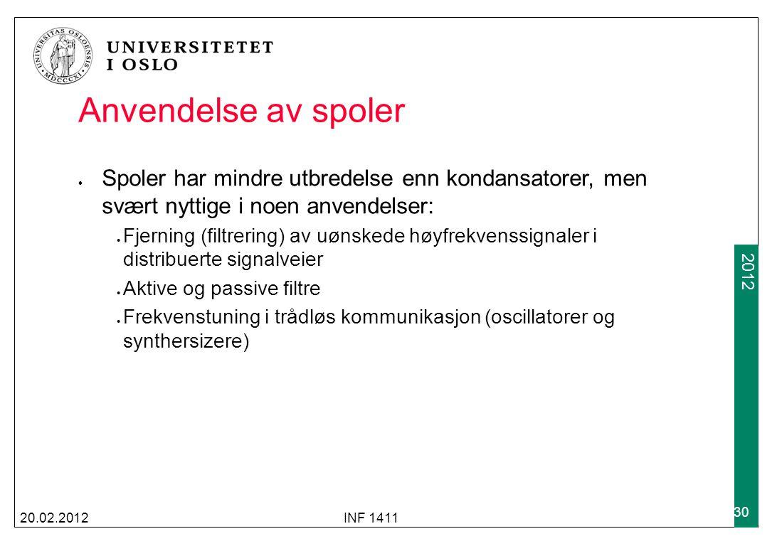 2009 2012 Anvendelse av spoler 20.02.2012INF 1411 30 Spoler har mindre utbredelse enn kondansatorer, men svært nyttige i noen anvendelser: Fjerning (f