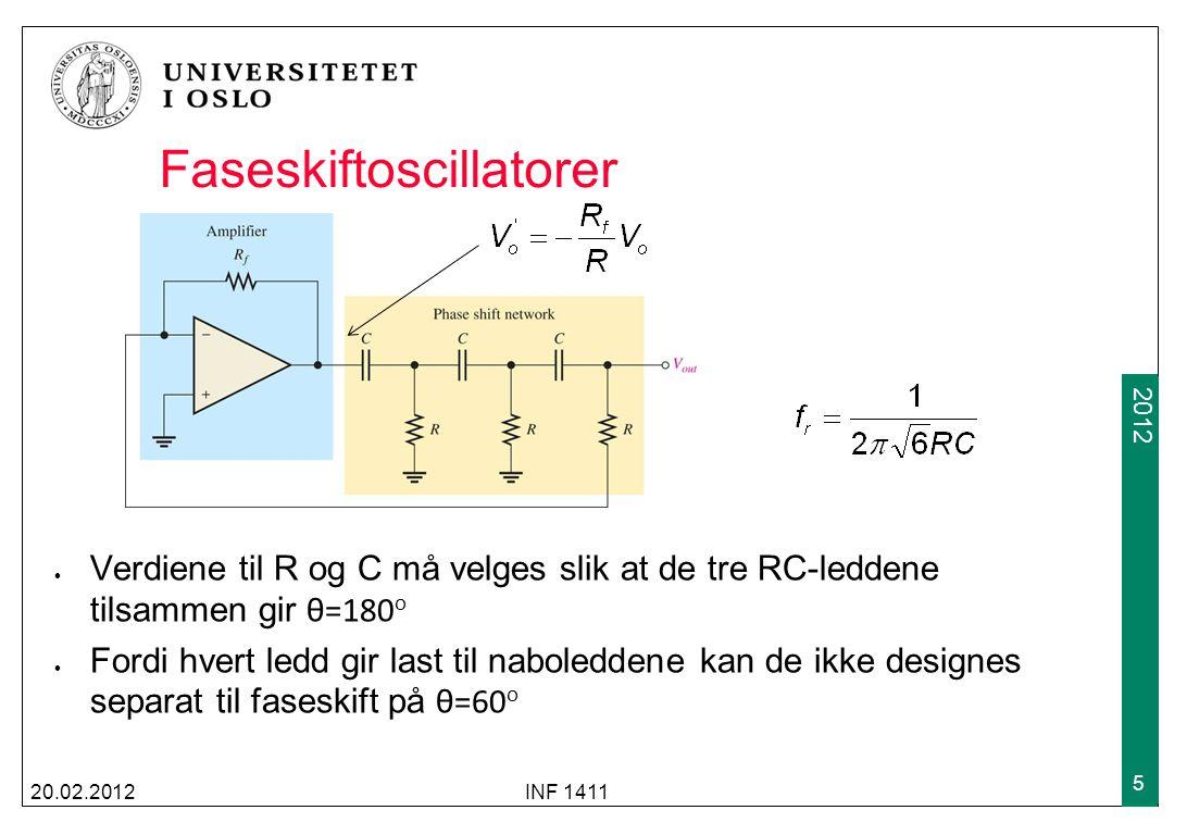 2009 2012 Faseskiftoscillatorer Verdiene til R og C må velges slik at de tre RC-leddene tilsammen gir θ=180 o Fordi hvert ledd gir last til naboledden