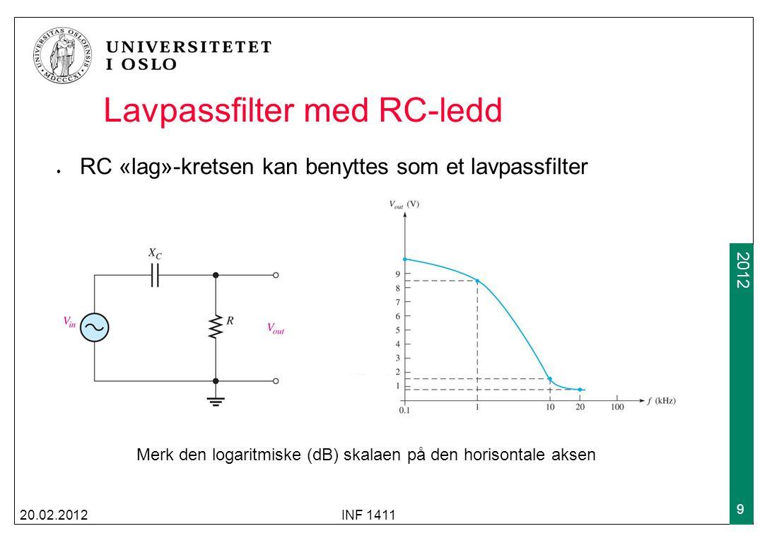 2009 2012 Lavpassfilter med RC-ledd RC «lag»-kretsen kan benyttes som et lavpassfilter 20.02.2012INF 1411 9 Merk den logaritmiske (dB) skalaen på den