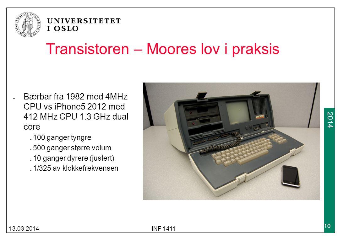 2009 2014 Transistoren – Moores lov i praksis Bærbar fra 1982 med 4MHz CPU vs iPhone5 2012 med 412 MHz CPU 1.3 GHz dual core 100 ganger tyngre 500 gan