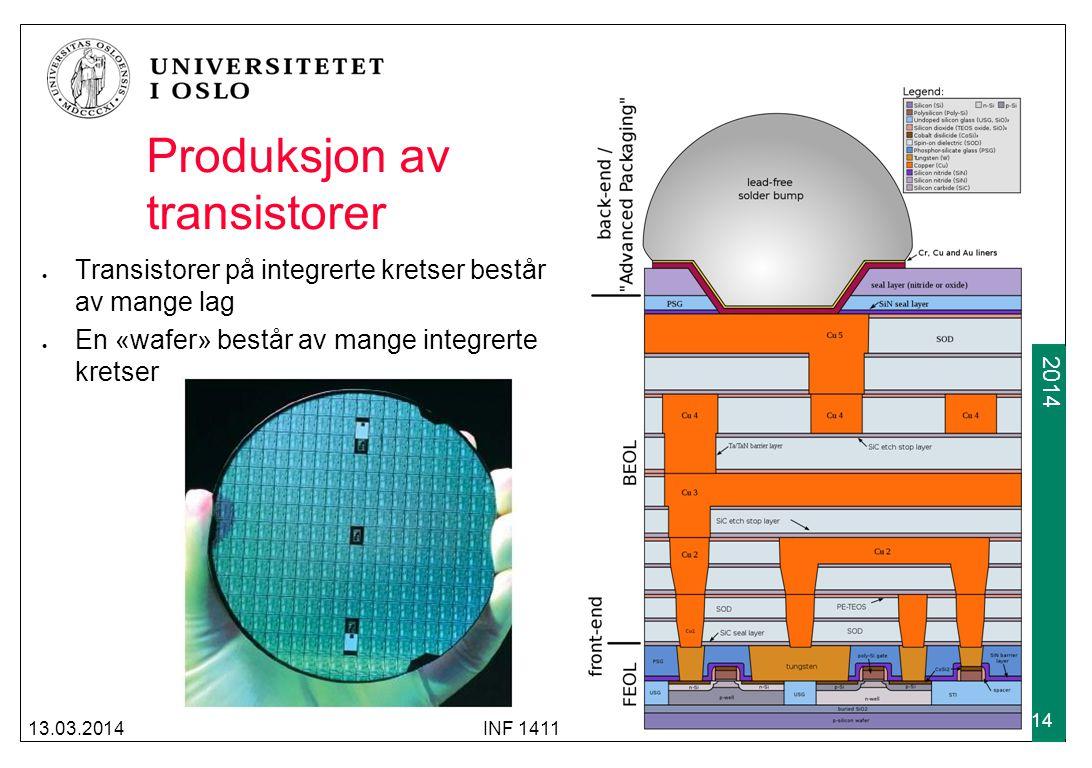 2009 2014 Produksjon av transistorer Transistorer på integrerte kretser består av mange lag En «wafer» består av mange integrerte kretser 13.03.2014IN