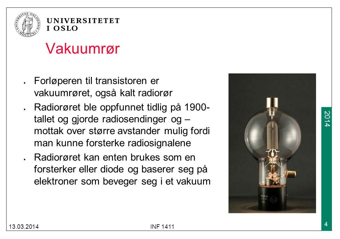 2009 2014 Vakuumrør Forløperen til transistoren er vakuumrøret, også kalt radiorør Radiorøret ble oppfunnet tidlig på 1900- tallet og gjorde radiosend