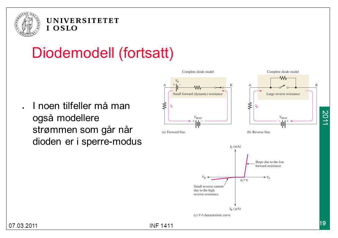 2009 2011 Diodemodell (fortsatt) I noen tilfeller må man også modellere strømmen som går når dioden er i sperre-modus 07.03.2011INF 1411 19