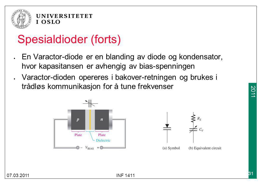 2009 2011 Spesialdioder (forts) En Varactor-diode er en blanding av diode og kondensator, hvor kapasitansen er avhengig av bias-spenningen Varactor-di