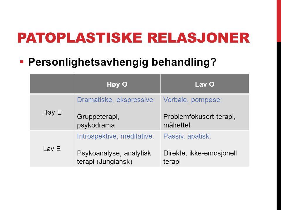 PATOPLASTISKE RELASJONER  Personlighetsavhengig behandling? Høy OLav O Høy E Dramatiske, ekspressive: Gruppeterapi, psykodrama Verbale, pompøse: Prob