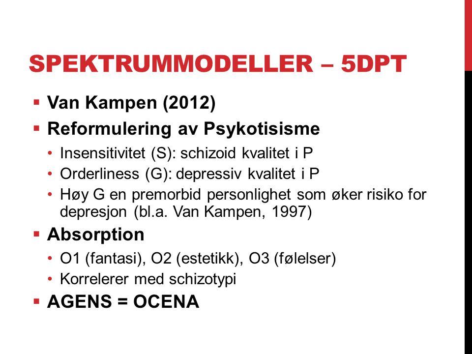 SPEKTRUMMODELLER – 5DPT  Van Kampen (2012)  Reformulering av Psykotisisme Insensitivitet (S): schizoid kvalitet i P Orderliness (G): depressiv kvali