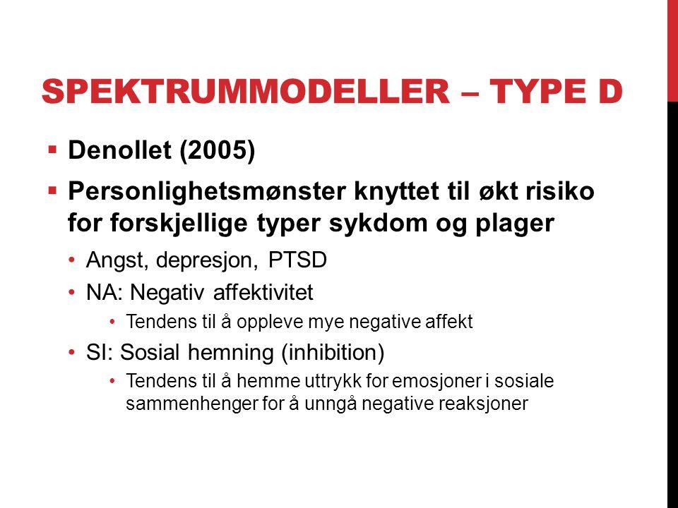 SPEKTRUMMODELLER – TYPE D  Denollet (2005)  Personlighetsmønster knyttet til økt risiko for forskjellige typer sykdom og plager Angst, depresjon, PT