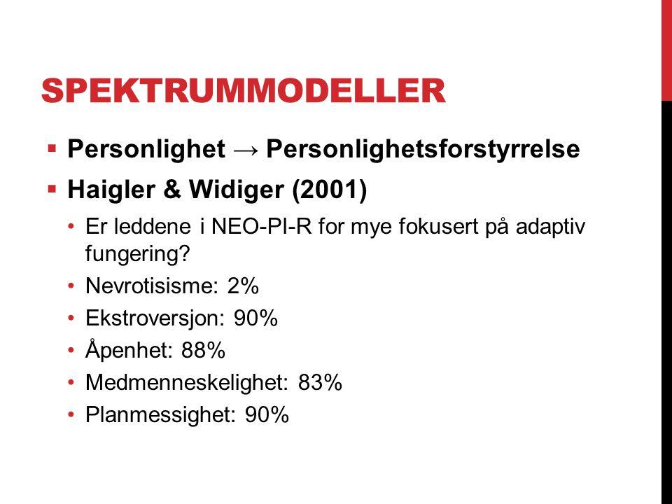 SPEKTRUMMODELLER  Personlighet → Personlighetsforstyrrelse  Haigler & Widiger (2001) Er leddene i NEO-PI-R for mye fokusert på adaptiv fungering? Ne