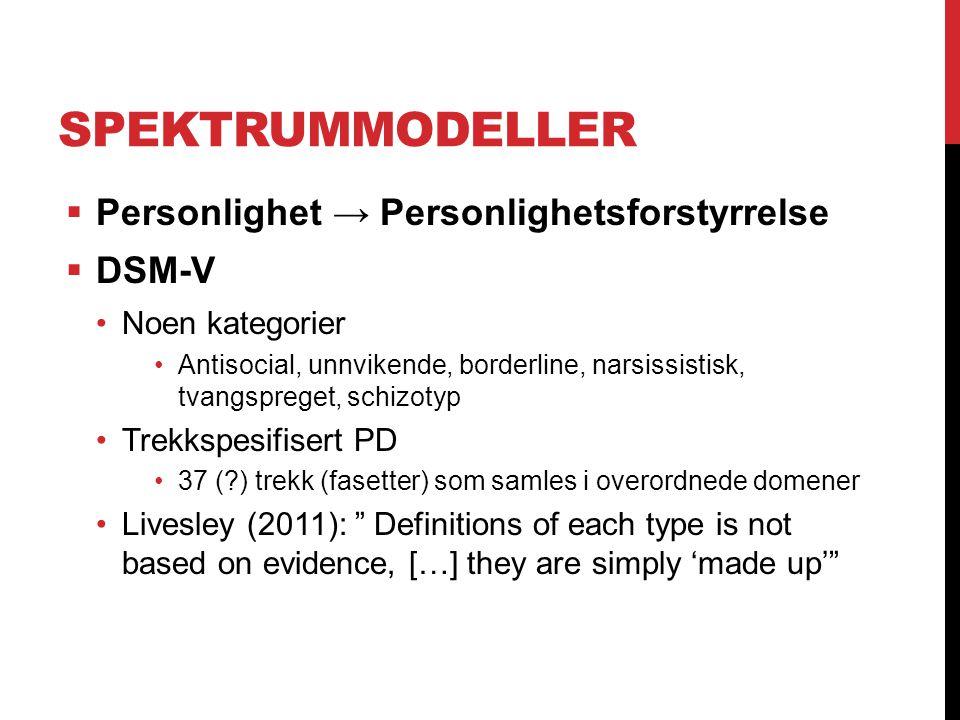 SPEKTRUMMODELLER  Personlighet → Personlighetsforstyrrelse  DSM-V Noen kategorier Antisocial, unnvikende, borderline, narsissistisk, tvangspreget, s