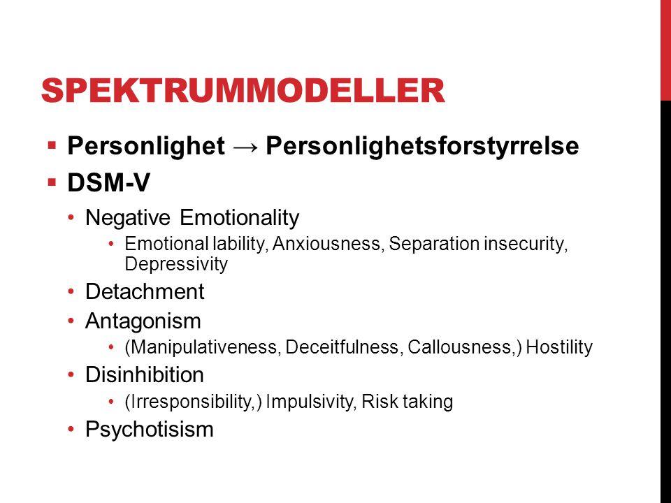 SPEKTRUMMODELLER  Personlighet → Personlighetsforstyrrelse  DSM-V Negative Emotionality Emotional lability, Anxiousness, Separation insecurity, Depr
